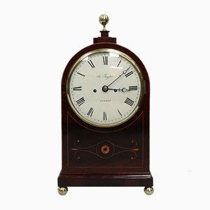 Antique Regency English Inlaid Mahogany Clock from Thwaites & Reed, 1820s