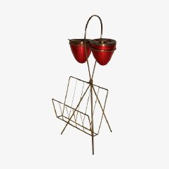 Brass and Lacquered Metal Magazine Rack with Ashtray