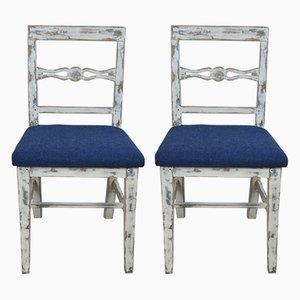 19th Century Rustic Swedish Pinewood Dining Chairs, Set of 2