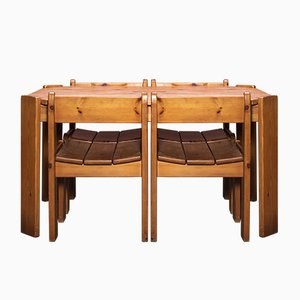 Mid-Century Pinewood Dining Table & Chairs Set by Ate van Apeldoorn
