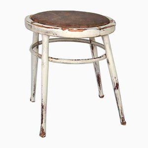 19th Century Rustic Swedish White Pinewood and Brown Leather Stool