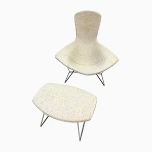 Model Bird Lounge Chair and Ottoman Set by Harry Bertoia for Knoll Inc. / Knoll International, 1980s