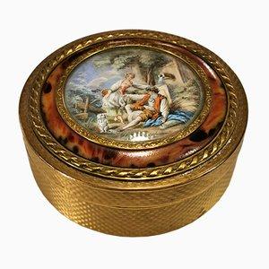 Caja francesa antigua estilo Louis XVI de bronce dorado, década de 1880