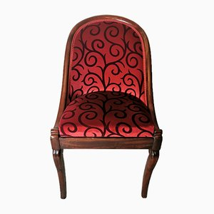 Antique Empire Mahogany and Velvet Desk Chair, 1830s