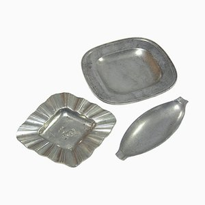 Small Art Deco Pewter Dishes by Just Andersen, 1930s, Set of 3