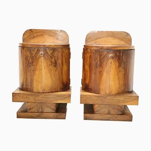 Art Deco Italian Walnut Veneer Nightstands, 1930s, Set of 2