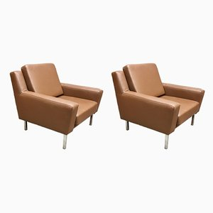 Scandinavian Modern Steel and Leather Lounge Chairs, 1950s, Set of 2