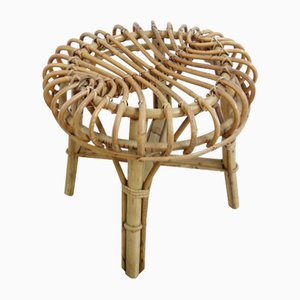 Small Wicker Footstool from Rohé Noordwolde, 1970s