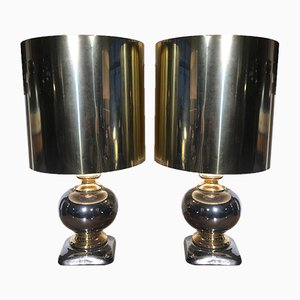 Gold and Silver Ceramic Table Lamps, 1970s, Set of 2