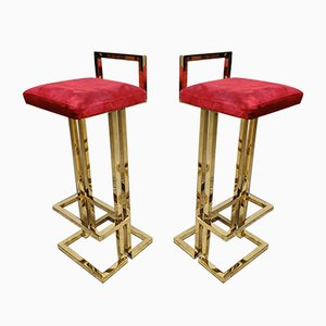French Brass and Cow Leather Stools from Maison Jansen, 1970s, Set of 2