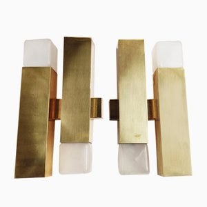 Mid-Century Brass Sconces by Gaetano Sciolari for Boulanger, 1970s, Set of 2