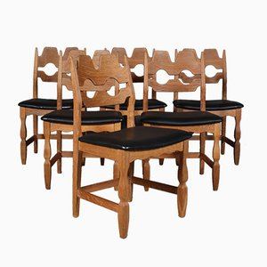Vintage Model Razorblade Dining Chairs by Henning Kjærnulf for EG Møbler, 1970s, Set of 6