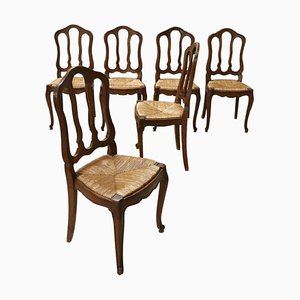 Solid Chestnut and Straw Dining Chairs, 1920s, Set of 6