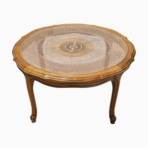 Vintage Cherrywood and Straw Coffee Table, 1930s