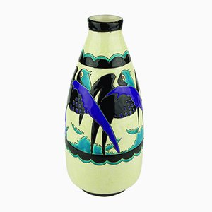 Art Deco Blue Vase by Charles Catteau for Keramis, 1920s