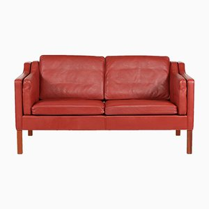 Model 2212 Red Leather and Mahogany Sofa by Børge Mogensen for Fredericia, 1980s