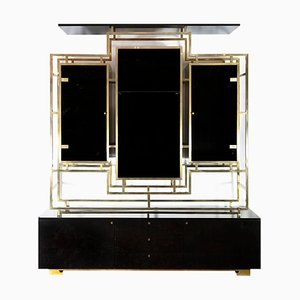 Vintage Brass and Black Lacquered Wood Sideboard by Kim Moltzer, 1970s