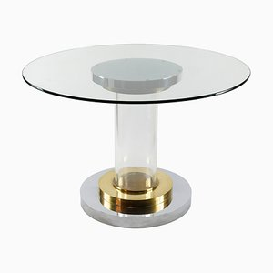 Mid-Century Italian Brass, Chrome, and Lucite Dining Table by Romeo Rega, 1960s