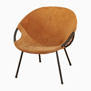 Tubular Steel and Suede Lounge Chair, 1960s