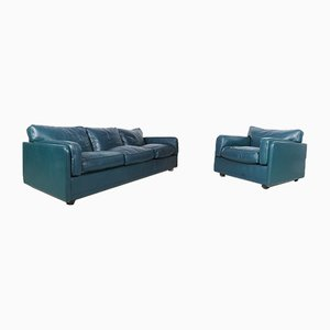 Green Leather 3-Seat Sofa & Model Socrates Armchair from Poltrona Frau, 1980s, Set of 2