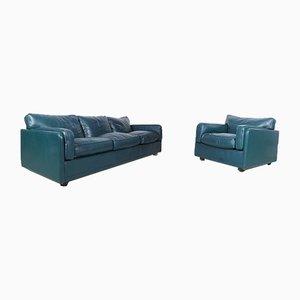Grünes 3-Sitzer Ledersofa & Modell Socrates Sessel von Poltrona Frau, 1980er, 2er Set