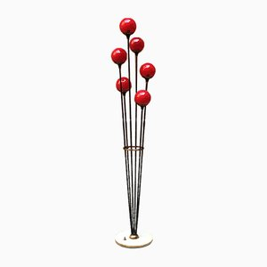 Italian Red Glass Model Alberello Floor Lamp from Stilnovo, 1950s