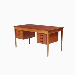Oak and Teak Desk by Børge Mogensen for Søborg Møbler, 1950s