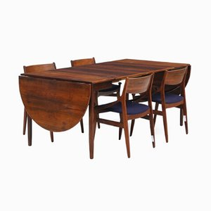 Rosewood Dining Table and Chairs Set by Vestervig Eriksen for Brdr. Tromborgs eftf., Møbelfabrik Vestervig Eriksen, 1950s