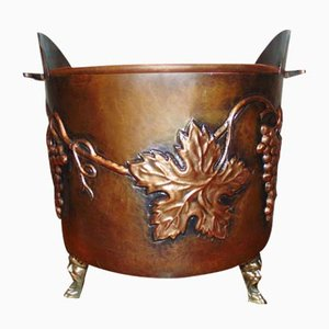 Vintage Brass and Copper Cauldron, 1940s