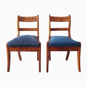 Antique Biedermeier Walnut Dining Chairs, Set of 2