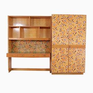 Modulares Wandregal, Schreibtisch & Kleiderschrank Set, 1950er