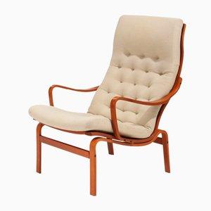 Swedish Beech and Mahogany Lounge Chair, 1970s