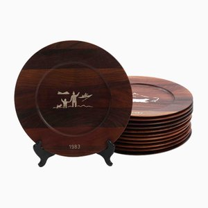 Danish Rosewood and Inlaid Silver Plates by Robert Dalgas Lassen, 1950s, Set of 12