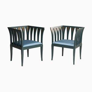 Blaue Vintage Art Déco Beistellstühle von Eliel Saarinen für Adelta Blue, 1980er, 2er Set