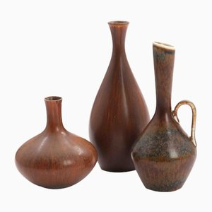 Glazed Stoneware Vases by Carl-Harry Stålhane for Röstrand, 1950s, Set of 3