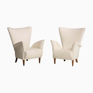 Mid-Century Italian White Fabric Armchairs, Set of 2