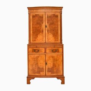 Mueble bar vintage de madera nudosa de nogal, años 30
