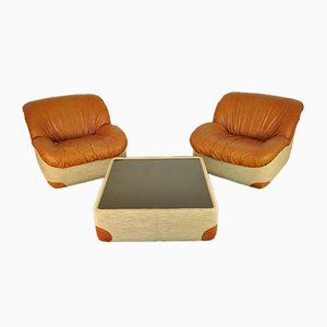 Vintage Leather and Fabric Lounge Chairs and Coffee Table Set, 1970s