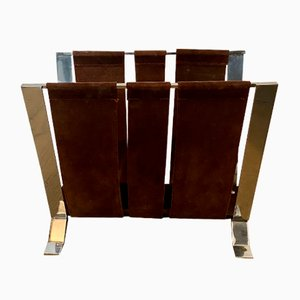 Vintage Suede and Chrome Magazine Rack, 1970s