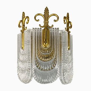 Vintage Glass and Brass Sconce, 1960s