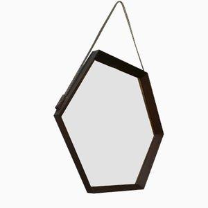 Sechseckiger italienischer Spiegel mit Rahmen aus Massivholz, 1960er