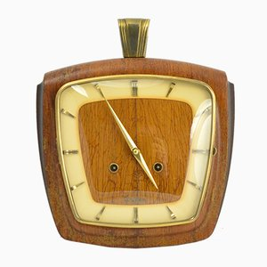 Mid-Century German Rosewood Mechanical Clock from VEB Dugena, 1950s