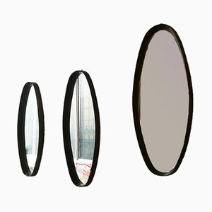 Italian Solid Wood Oval Mirrors, 1960s, Set of 3