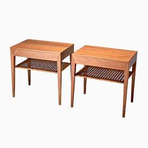 Tables de Chevet en Teck et Rotin par Severin Hansen pour Haslev Møbelsnedkeri, 1950s, Set de 2