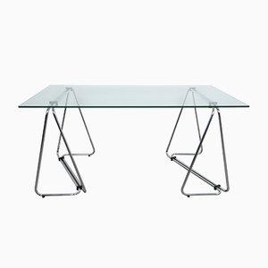 Italienischer Schreibtisch aus verchromtem Metall & Glas, 1970er