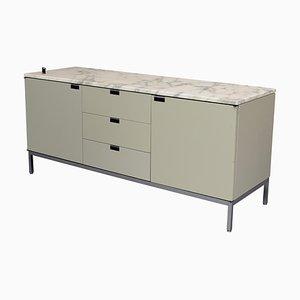 Aparador de mármol y metal cromado en gris verdoso de Florence Knoll para Knoll Inc. / Knoll International, años 60