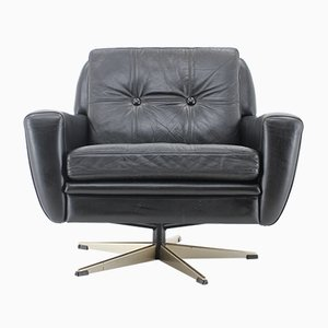 Danish Black Leather Swivel Chair, 1960s