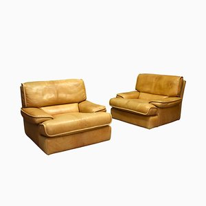 Cognac Leather Lounge Chairs, 1970s, Set of 2