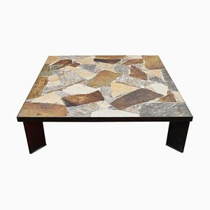 Large Dutch Brutalist Slate Stone Coffee Table, 1970s