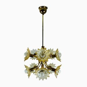 Deckenlampe aus Messing & bernsteinfarbenem Glas, 1970er